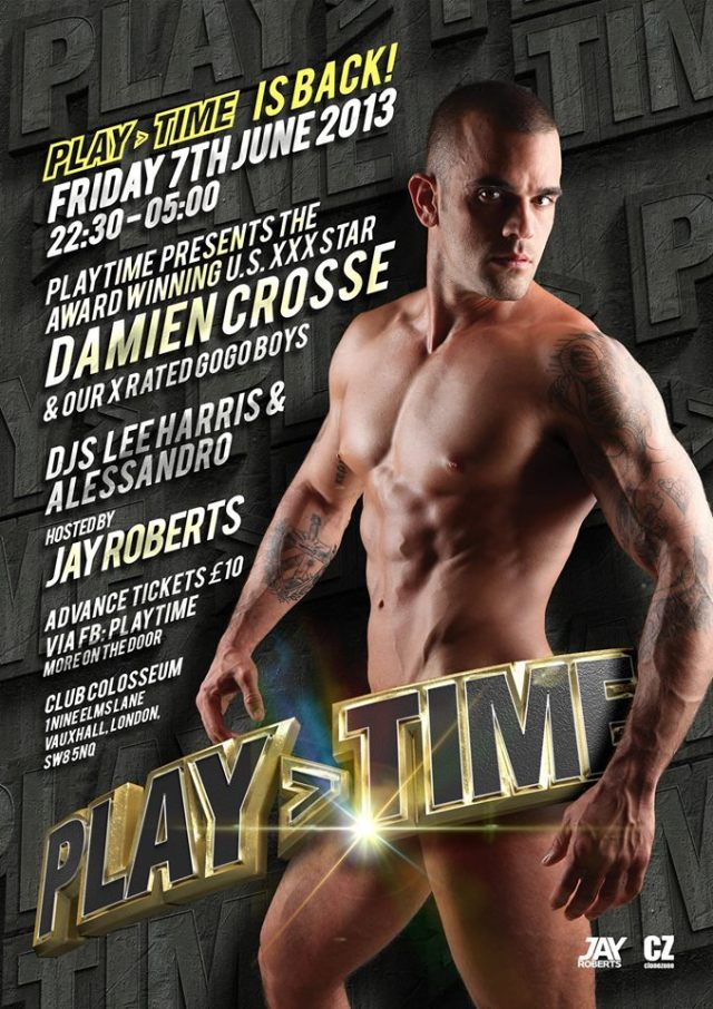 PLAY>TIME with Damien Crosse, Club Colosseum, Vauxhall, Friday 7 June