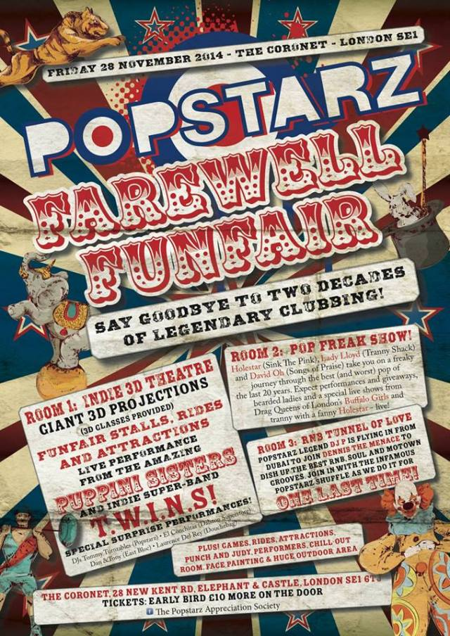 Popstarz Farewell Funfair, The Coronet Theatre, Friday 28 November