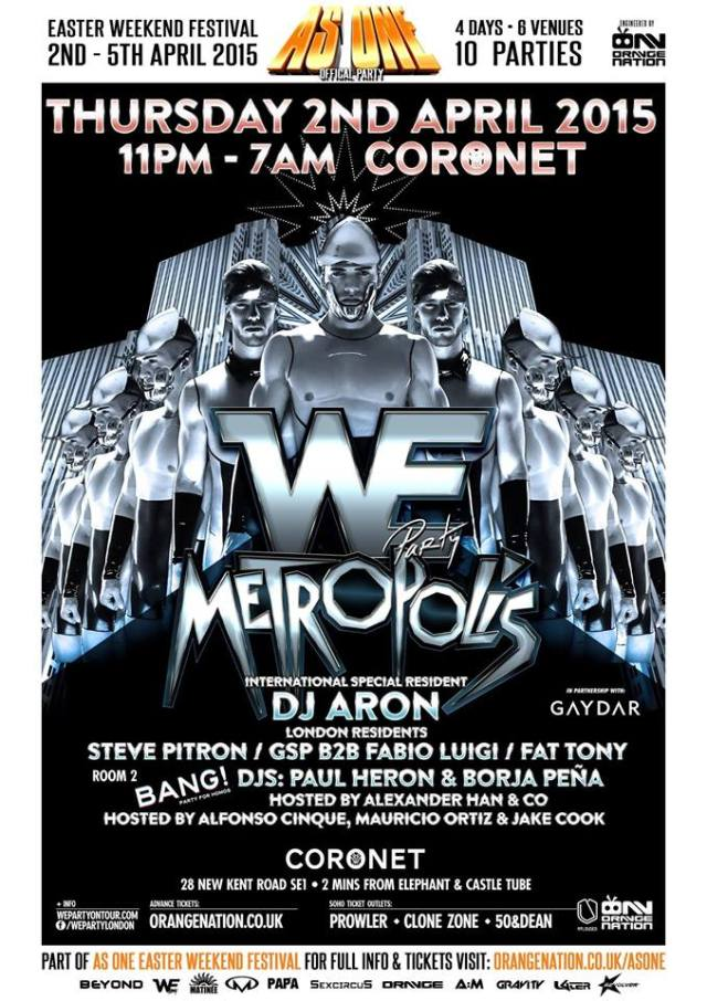 We Party London, Metropolis, Coronet Theatre, Thursday 2 April 2015