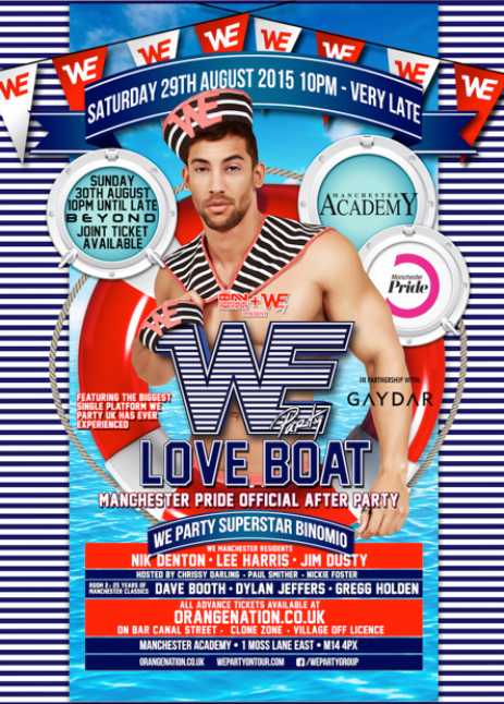 We Party Love Boat Manchester, Sunday 29 August 2015