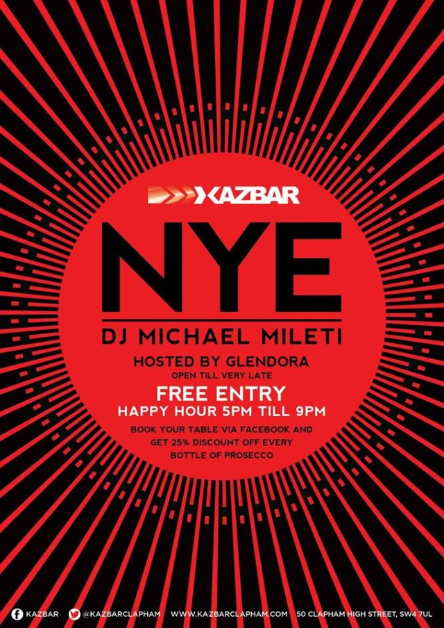 Kazbar, Clapham, New Year's Eve 2015